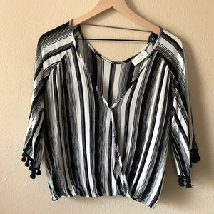 Anthropologie Lavender Black and White Stripped